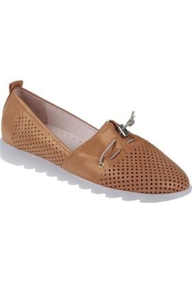 Shalin Hakiki Deri Kadın Ayakkabı Hnz 1100 Taba
