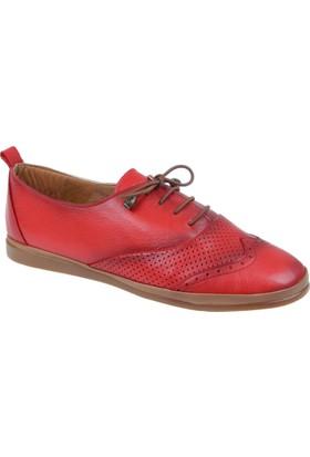 Beety Hakiki Deri Kadın Ayakkabı Bty 006 Kırmızı