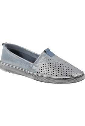 Shalin Hakiki Deri Kadın Ayakkabı Est 241 Mavi