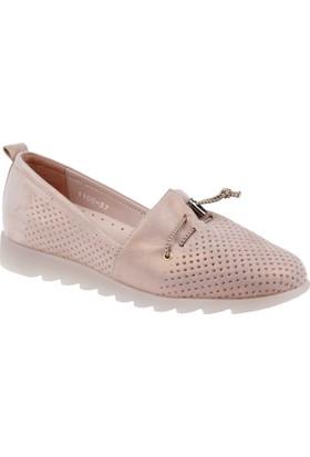 Shalin Hakiki Deri Kadın Ayakkabı Hnz 1100 Pudra