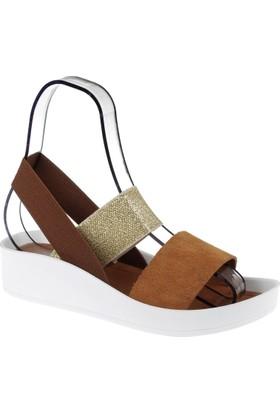Shalin Hakiki Deri Kadın Sandalet Bt 1310 Taba