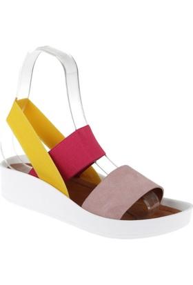 Shalin Hakiki Deri Kadın Sandalet Bt 1310 Pudra