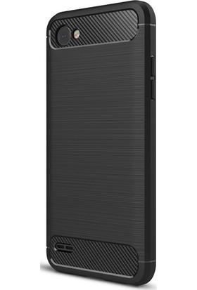 Microcase LG Q6 Brushed Carbon Fiber Silikon TPU Kılıf + Tempered Cam