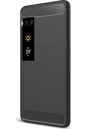 Microcase Meizu Pro 7 5.2'' Brushed Carbon Fiber Silikon Kılıf + Tempered Cam