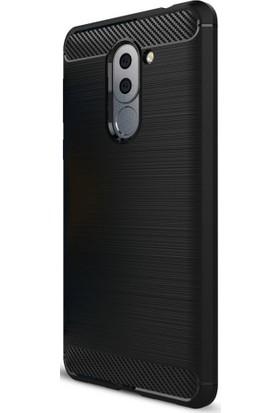 Microcase Huawei Gr5 2017 Brushed Carbon Fiber Silikon Kılıf + Tempered Cam