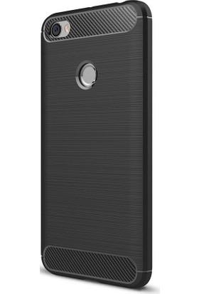 Microcase Xiaomi Redmi Note 5A Prime Brushed Carbon Fiber Silikon Kılıf + Tempered Cam