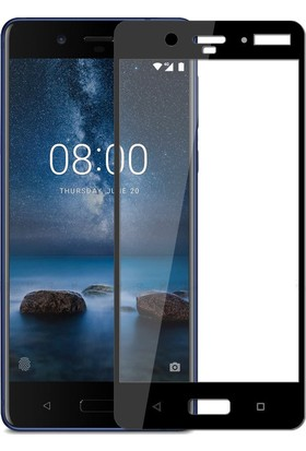 Microcase Nokia 8 Tam Kaplayan Tempered Glass Cam Koruma