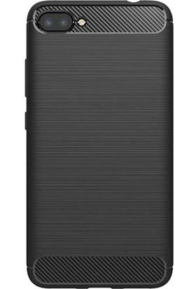 Microcase Asus Zenfone 4 Max ZC554KL Brushed Carbon Silikon TPU Kılıf + Cam