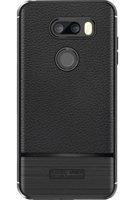 Microcase LG V30 - V30 Plus Cross Deri Effek TPU Silikon Kılıf + Tempered Cam