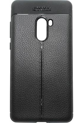 Microcase Xiaomi Mi Mix 2 Leather Effect TPU Silikon Kılıf + Tempered Cam