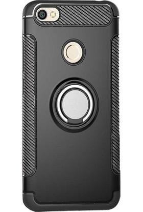 Microcase Xiaomi Redmi Note 5A Prime Yüzük Standlı Silikon Kılıf + Tempered Cam