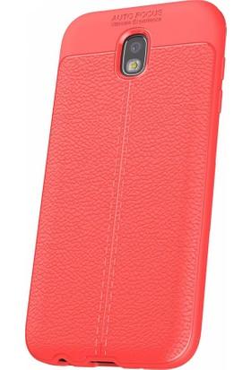 Microcase Samsung Galaxy J5 Pro J530 Leather Effect Silikon Kılıf + Tempered Cam