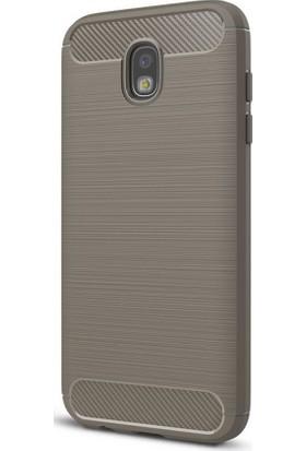 Microcase Samsung Galaxy J5 Pro J530 Brushed Carbon Silikon Kılıf + Tempered Cam