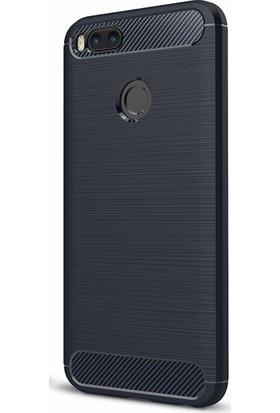 Microcase Xiaomi Mi 5X - A1 Brushed Carbon Fiber Silikon TPU Kılıf + Tempered Cam