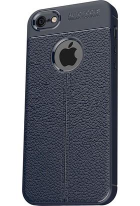 Microcase Apple iPhone 5/5S/SE Leather Effect TPU Silikon Kılıf + Tempered Cam