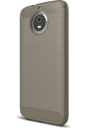 Microcase Motorola Moto E4 Plus Brushed Carbon Fiber Silikon Kılıf + Tempered Cam