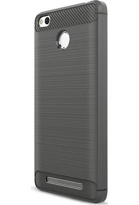 Microcase Xiaomi Redmi 3 Pro Brushed Carbon Fiber Silikon TPU Kılıf