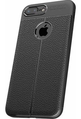 Microcase Apple iPhone 7 Plus Leather Effect Silikon Kılıf + Tempered Cam