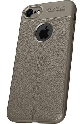 Microcase Apple iPhone 8 Leather Effect Silikon Kılıf + Tempered Cam