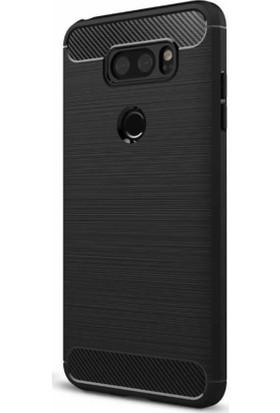 Microcase LG V30 Brushed Carbon Fiber Silikon TPU Kılıf + Tempered Cam