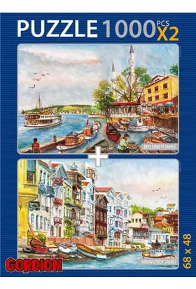 Gordion Beylerbeyi Sahili & Arnavutköy Sahili 2X1000 Parça Puzzle Takım