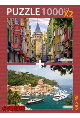Gordion Galata Kulesi & Portofino 2X1000 Parça Puzzle Takım