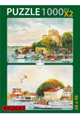 Gordion Göksu Deresi & Çengelköy Vapur İskelesi 2X1000 Parça Puzzle Takım