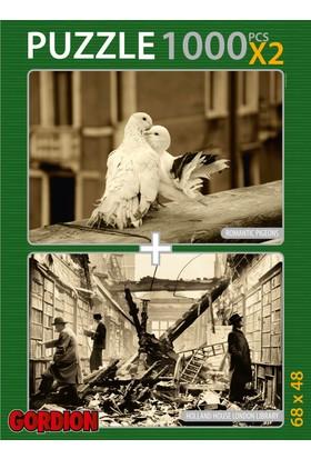 Gordion Romantic Pigeons & Holland House London Library 2X1000 Parça Puzzle Takım