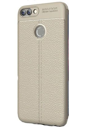 Kny Huawei P Smart Kılıf Deri Desenli Lux Niss Silikon+Cam Ekran Koruyucu