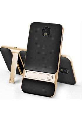 Case 4U Samsung Galaxy J7 Pro Kılıf (J730) Standlı Armor Arka Kapak Siyah-Altın