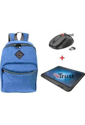 M&W Notebook & Tablet Mavi Sırt Çantası + Trust 21962 Ziva Laptop Soğutucu + Trust Ziva 21949 Kablosuz Mouse