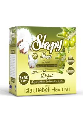 Sleepy Islak Mendil Zeytinyağı ve Pamuksu Lifler Kapaklı Ambalaj 3'lü 150 Yaprak
