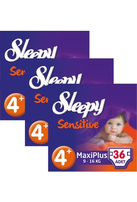Sleepy Sensitive Bebek Bezi 4+ Beden Maxi Plus Jumbo Paket 36X3 108 Adet