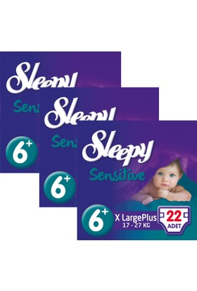 Sleepy Sensitive Bebek Bezi 6+ Beden XL Plus Jumbo Paket 22X3 66 Adet