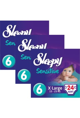 Sleepy Sensitive Bebek Bezi 6 Beden XL Jumbo Paket 24X3 72 Adet