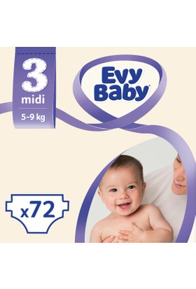 Evy Baby Bebek Bezi Midi 3 Beden Dev Fırsat Paket 72 Adet