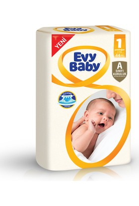 Evy Baby Bebek Bezi Yenidoğan 1 Beden Jumbo Ekonomik Paket 44 Adet + Islak Mendil (60 Yaprak)