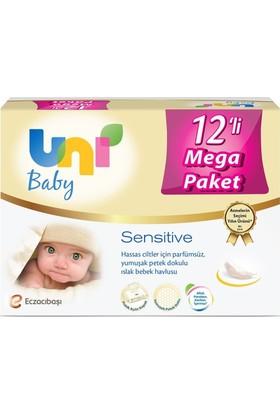Uni Baby Sensitive Islak Havlu Uni Baby Sensitive Islak Havlu 9 + 3 12'li Kapaklı