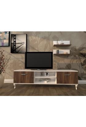 Hepsiburada Home Duvar Raflı Tv Sehpası - Kitaplıklı Tv Ünitesi Modern Ayaklı Tasarım Minyatür Ceviz - Beyaz