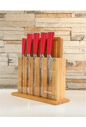 Emsan Matriks 7 Parça Standlı Kesme Tahta Bıçak Takımı Kırmızı