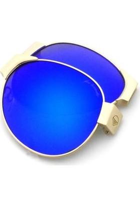 Baendit Red Baron Unisex Altın Çerçeve Mavi Lens İnce Beyaz Kulaklık Modülleri