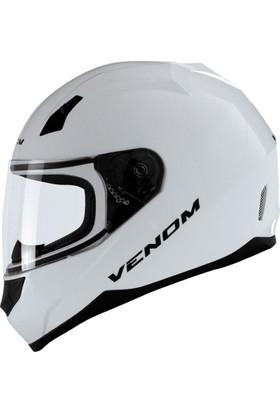 Venom VF 391 Beyaz Motosiklet Kaskı Kapalı Kapalı - L