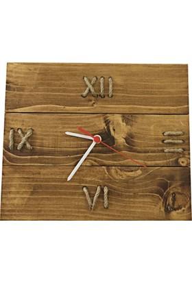 DokDesign Doğal Ahşap Roma Rakamlı Duvar Saati