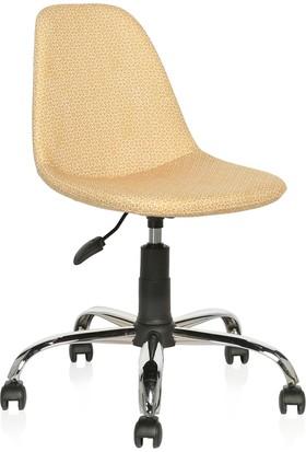 Seduna Verona Sarı Kumaş Sandalye Çalışma Koltuğu Ofis Koltuğu
