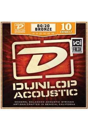 Jim Dunlop Extra Light 80/20 Bronze Akustik Gitar Tel Seti (10-48)