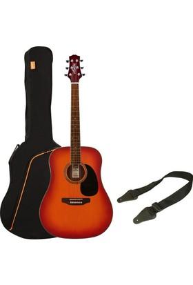 Ashton D25 Akustik Gitar Paketi (Cherry Sunburst)