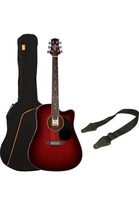 Ashton SPD25CEQ Elektro Akustik Gitar Seti (Wine Red Sunburst)