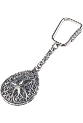 Akyüz Gümüş Damla Modeli Telkari Gümüş Anahtarlık Anh038