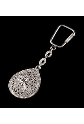 Akyüz Gümüş Damla Modeli Telkari Gümüş Anahtarlık Anh040