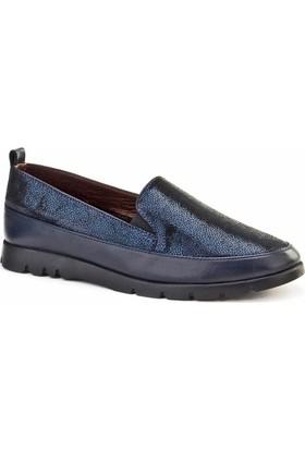 Cabani Bağcıksız Simli Esnek Taban Günlük Kadın Ayakkabı Lacivert